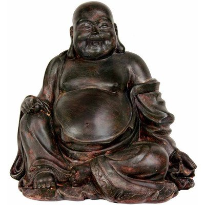 Oriental Furniture Unique Asian Japanese Home Decor 11-Inch Cast Resin Laughing Happy Buddha Statue Figure with Exposed Lucky Belly