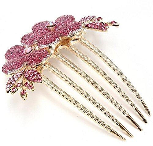 Drove Charm Fashion Girl Flower Muster Haar Clip Kamm–rosa