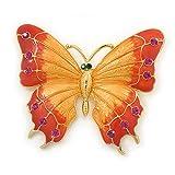 GIGANTISCHER orange/pink Emaille, Kristall Schmetterling Brosche in Gold-Plating–80mm über