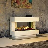 muenkel Diseño London [Chimenea eléctrica Opti de Myst]: 90Cm–Color Blanco (Luz Blanca Cálida)–sin calefacción, con madera de decoración (OMC 600)