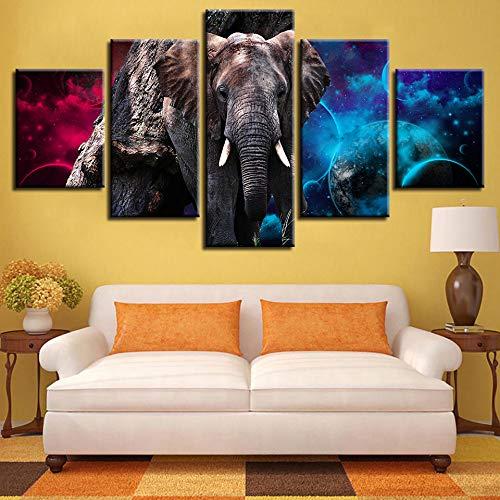 Mddjj Impresiones De Arte Moderno Abstracto 5 Piezas Planetas De Elefantes Pinturas...