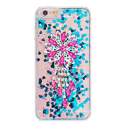 """MOONCASE iPhone 6S Plus Coque, Glitter Sparkle Bling [Owl] Faux Diamant Dessin Motif Liquide Étui Coque pour iPhone 6 Plus / 6S Plus 5.5"""" Durable Étui de Protection Hard PC Back Case Violet 04 Bleu 01"""