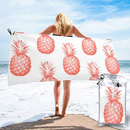popluck Coral Pineapple Microfiber Quick Dry Super Soft Ultra Light Travel Portable Towel for Travel Beach Camping Gym Swimming Sporting -