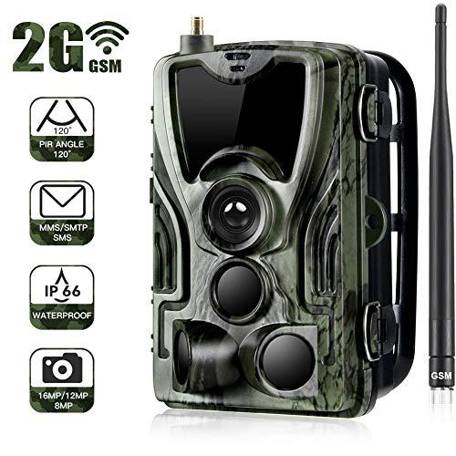 Trampa fotográfica de la cámara salvaje 2G 1080P 16MP con cámara de caza IP65 impermeable 36 LED infrarrojos de bajo brillo de 940nm, visión nocturna por infrarrojos de hasta 20 m, tiempo de activació
