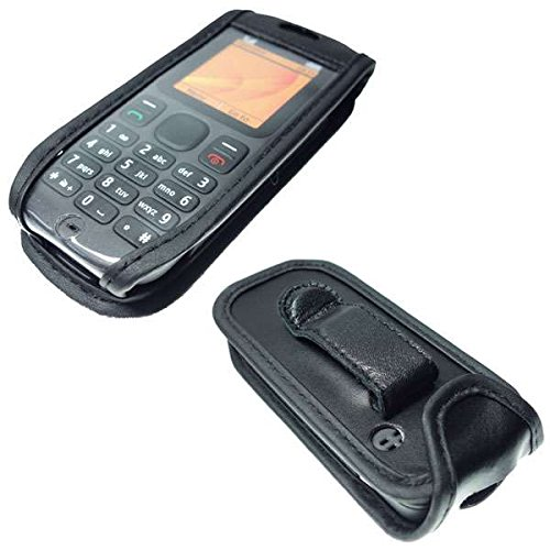caseroxx Handy-Tasche Ledertasche mit Gürtelclip für Nokia 100 / 101 aus Echtleder, Handyhülle für Gürtel (mit Sichtfenster aus schmutzabweisender Klarsichtfolie in schwarz)