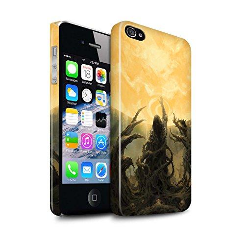 Offiziell Chris Cold Hülle / Glanz Snap-On Case für Apple iPhone 4/4S / Rotes Band-Engel Muster / Unterwelt Kollektion Sonnengott/Reben