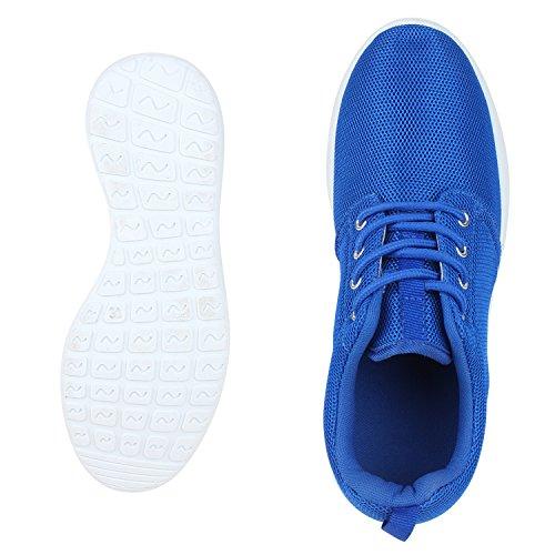 Flache Unisex Damen Herren Laufschuhe Profilsohle Sportschuhe Schnüren Sneakers Freizeitschuhe Blau Weiss