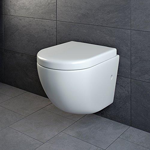 Design Wand Hänge WC ohne Spülrand Spülrandlos Toilette Sitz Softclose hängend 4 - 3