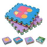 BodenMax® CRS-TR3010-9 30 x 30 x 1 cm Bunt Teppichmatte mit Kinderteppich Matte Kinderspielteppich Unterlegmatte Spielmatte Fitnessmatten (Kindermatte mit Fahrzeugmuster, Karte 9 Stück, 0.81qm)