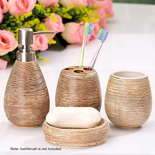 gfjfghfjfh 4Pcs Keramik Badezimmer Sets Badezimmer Kreative Home Bad Körperpflege-Set Elektrische Zahnbürste Halter-Badezimmer-Zubehör