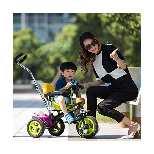 BGHKFF 3 In 1 Children's Hand Push Tricycle 1 To 6 Years 2-Point Safety Belt Children's Pedal Tricycle Rear Wheel With Brake Folding Footrests Kids Tricycle Maximum Weight 25 Kg,White  ★Children's tricycle material: environmentally friendly plastic material, suitable for children aged 1-6, maximum weight 25 kg ★Scientific design function: 360° awning; hand pusher can be adjusted; footrest can be folded; steering linkage; ★Safety design: golden triangle structure, safe and stable; guardrail; rear wheel double brake 8