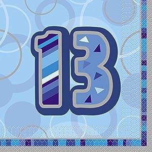 Unique Party Paquete de 16 servilletas de papel de 13 cumpleaños Color azul Edad (28466