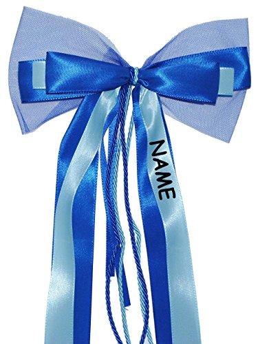 Unbekannt große 3-D Schleife - incl. Name / Text - 24 cm breit u. 54 cm lang - Geschenkband / Geschenkschleife - blau hellblau - für Geschenke und Schultüten