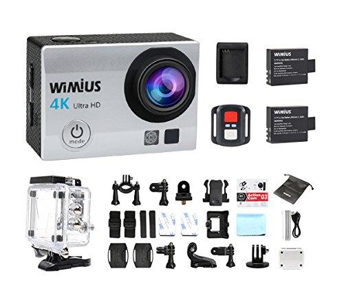 CAMARAS DEPORTE 4K WIMIUS Q3 WIFI ULTRA HD IMPERMEABLE DV VIDEOCAMARA 16MP 170 GRADOS GRAN ANGULAR 2 PULGADAS LCD SCREEN / 2 4G CONTROL REMOTO / 2 BATERIAS RECARGABLES-PLATA