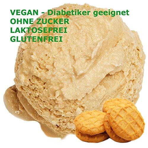 Butterkeks Cookie Geschmack Eispulver VEGAN - OHNE ZUCKER - LAKTOSEFREI - GLUTENFREI - FETTARM, auch für Diabetiker Milcheis Softeispulver Speiseeispulver Gino Gelati (Butterkeks Cookie, 1 kg) (Cookie-eis)