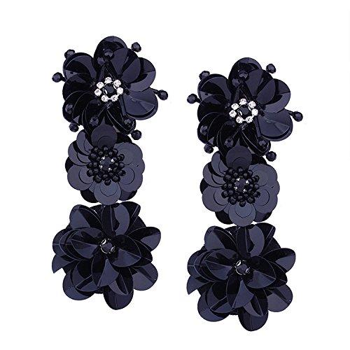 Europa y América exageran grandes pendientes pendientes de lentejuelas de flores personalizadas etapa pasarela discoteca accesorios revista de moda con la hembra, negro