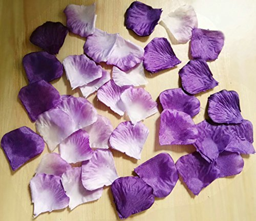 worldoor Stück gemischt Fasermaterial Farbe Rosenblätter lila, lavendel, weiß Hochzeit Aufsteller Party Dekoration Konfetti Braut Dusche Party Favor - Flower Lila Bouquet Silk
