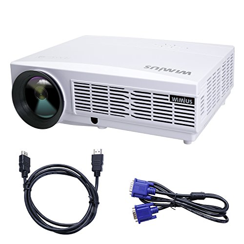 Proyector Full HD 3300 Lúmenes, Proyectores LED 1080P Proyector Video WIMIUS T6 Projector LCD Home Cinema Contraste 3000:1 Videoproyector Apoyo 1920*1080 HDMI VGA USB SD para PC TV Juego Hogar PS4 XBOX-Blanco