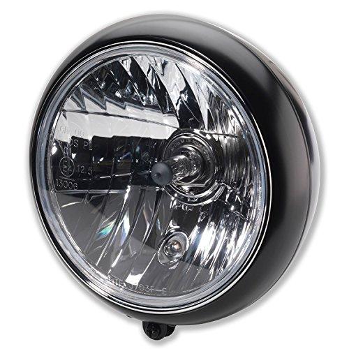 """7"""" Zoll Motorrad Haupt Scheinwerfer Classic British Style H4 Frontscheinwerfer mit Halter unten E-Geprüft schwarz"""