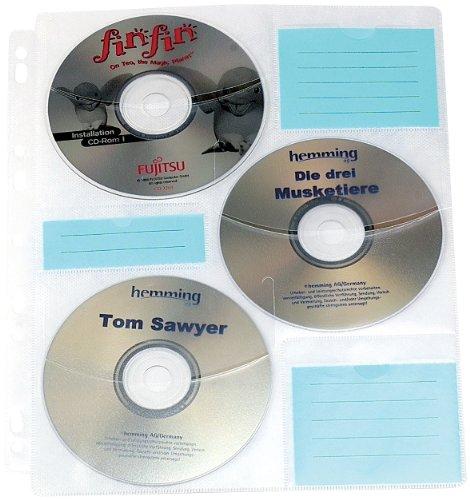 General Office CD Aufbewahrung: CD/DVD Ringbucheinlagen 2 x 3 für 60 CD/DVD (CD DVD Ringbuch Hüllen)