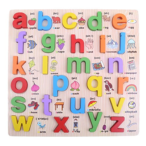 Domybest Wooden ABC Uppercase and Lowercase Alphabet English Letters Jigsaw Puzzle Children Kids Early Educational Toy Gift (Lower-case letter)