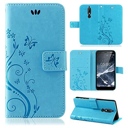 betterfon | Flower Case Handytasche Schutzhülle Blumen Klapptasche Handyhülle Handy Schale für Nokia 5.1 Blau