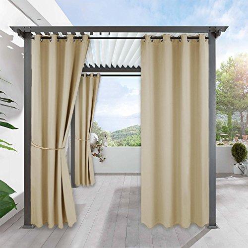 RYB HOME Outdoor Verdunklungsvorhang - Beige Blickdichte Gardinen für Garten Balkon Pavillon...