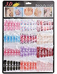 Ouneed® 144 pcs Faux Ongles Mains Tattoo (C)