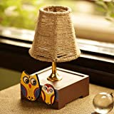 #5: ExclusiveLane 'The Jute Shade' Twin Owl Motifs Table Lamp -Table Lamps for Study Bedroom Home Décor Table Lamps Antique Bedside Decorative Lamps Gift Item Diwali Decoration