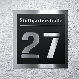 Hausnummer-Schild moderne Edelstahl-Plakette – Acrylglas-Platte mit Straßenname, Nummer & Montagematerial - Unterputz