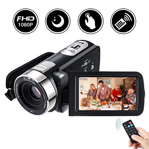 Caméscope Numerique Haute Definition Full hd, Footprintse FULL HD 5.0M HD Ecran Tactile CMOS Capteur 3.0 pouces Numérique 24.0 MP (Supports 270°Rotation + Multi-langue+Télécom ) Avec Zoom Optique 16x