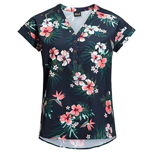 Jack Wolfskin Damen Victoria Tropical Shirt Bluse, Midnight Blue All Over, S - Midnight Blue Shirt