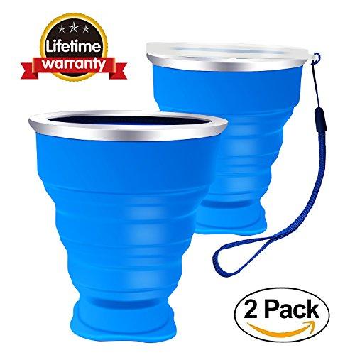Silikon Falten Tasse Becher Faltbar Klappbar Lebensmittelecht Ungiftig Silikon:BPA-frei tragbare Kaffee Tasse für Wandern Camping Outdoor Sport, bruchfest, 200 ml Für Heiß und Kaltgetränke - Blau 2 Stück