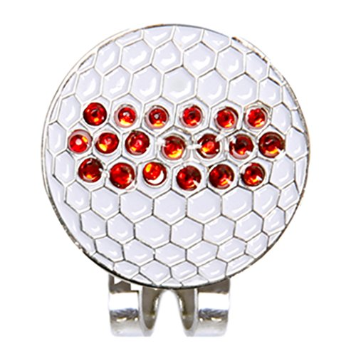 JERKKY Durable Metall Strass Kappe Clip Für Golf Ball Marker Zubehör Professional (Golf Ball Marker Personalisierte)