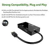 CableDeconn Mini DisplayPort (Thunderbolt Port Kompatibel) auf HDMI/DVI/VGA männlich zu weiblich-in Adapter Kable Konverter DisplayPort 1.2 ermöglicht vollen 4 K x 2 K Auflösung, 3D Stereo Außerhalb Full HDTV Vergleich
