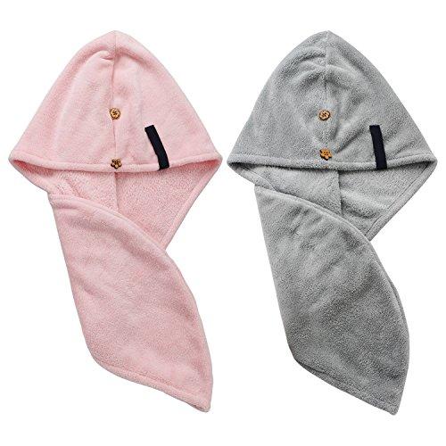 Packung mit 2 Nassen Haar Trocknende Handtücher Mikrofaser Schnell Trockene Haarkappe von Segbeauty, Turban Wrap Badvorleger Spa Handtuch, Ultra Saugfähige Trocknende Kappe für Mädchen Frauen