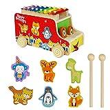 Camion con Animali Legno Xilofono Giochi Trainabili Giocattoli in Legno per i Bambini--Tema di Natale