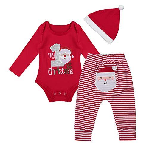 Freebily 3tlg Weihnachtsoutfit Baby Mädchen Jungen Strampler Weihnachten Kleidung Set Babykleidung Santan Claus Kostüm Overall Jumpsuit Langarmshirt Hose Mütze Rot 50-56/0-3 Monate