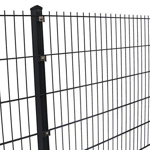 #Doppelstabmattenzaun Höhe 2,03 m komplett Set 10 m bis 40 m Anthrazit oder Moosgrün (10 m, Anthrazit RAL 7016)#