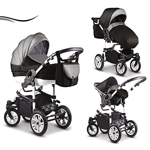 """16 teiliges Qualitäts-Kinderwagenset-Reisesystem 3 in 1\""""COSMO\"""" in 41 Farben: Kinderwagen + Buggy + Autokindersitz + Schwenkräder - Mega-Ausstattung - in Farbe (C-036) SCHWARZ-GRAU-WEISS"""