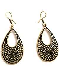 Her Rang Women's Handcrafted Antique Gold Plated Brass Fashion Earrings, Golden