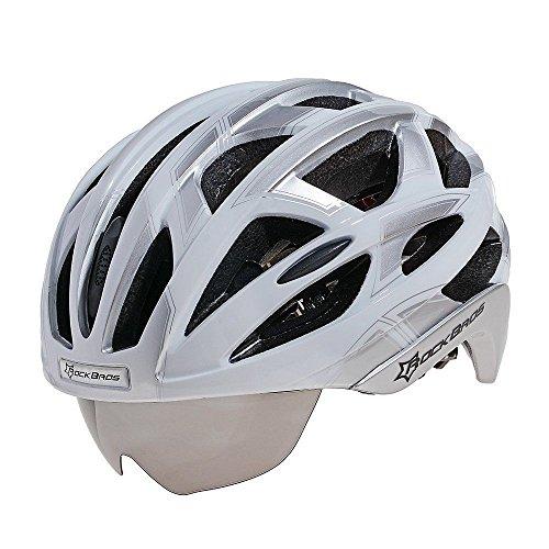 ROCKBROS Casque de Vélo Route VTT Homme avec Visiere Lunette- 3 Verres de Rechange 57-62cm Blanc