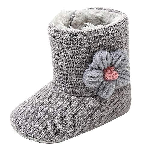 XXYsm Kleinkind Schuhe Baby Mädchen Krabbelschuhe Jungen Lauflernschuhe Winter Stiefel Babyhausschuhe Schneestiefel mit Blume Grau 21.5 EU/6-9 Monate