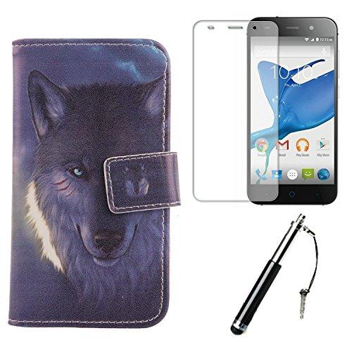 Lankashi 3in1 Wolf PU Flip Leder Tasche Für ZTE Blade V7 Lite 5