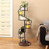 JXXQD Retro- Eisen-und Fester hölzerner mehrschichtiger Boden-Blumen-Topf-Stand für Balkon-Wohnzimmer-Treppen-Eckregal kann 8 Blumentöpfe unterbringen (größe : 40 * 19 * 120cm)