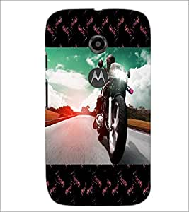 PrintDhaba Bike D-6040 Back Case Cover for MOTOROLA MOTO E2 (Multi-Coloured)