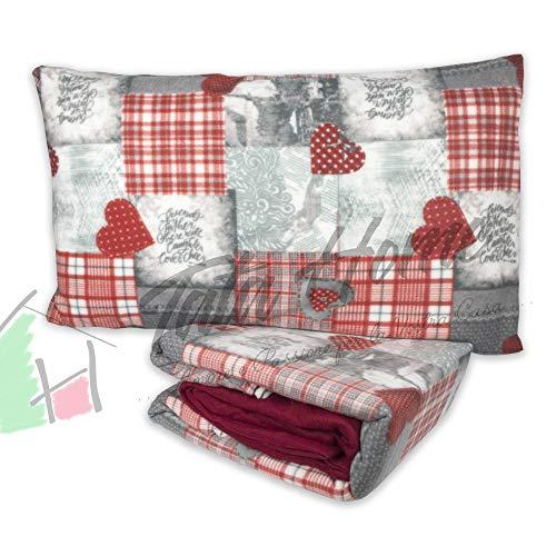 Tata home set lenzuola sopra sotto con angoli elasticizzati e federe in pile letto matrimoniale 2 piazze fantasia cuori rossi