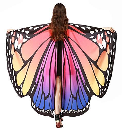 Rot Kostüm Poncho Für M&m Erwachsene - Feoya Damen Herren Schmetterling Kostüm Erwachsene Poncho Schönes Accessoire für Festivals Farbe 17