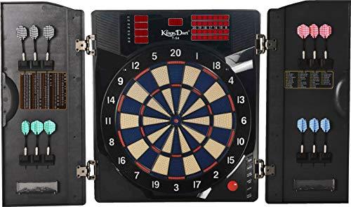 Kings Dart E-Dartscheibe Pro Dart | Elektronisches Dartkabinett für Anfänger u. Fortgeschrittene| Original Turniergröße | Bis zu 8 Spieler | Mit 38 Spiele | 59x50 cm