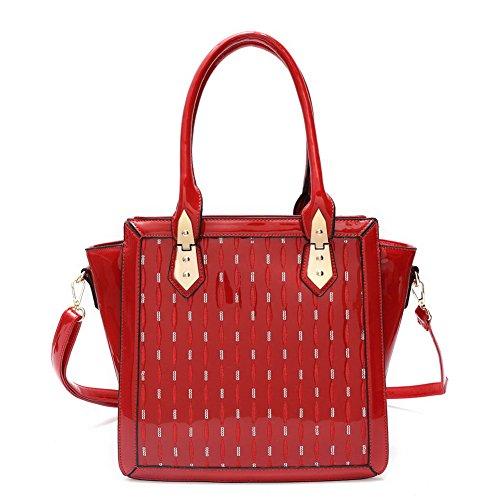 Blancho Bedding Womens [Trendy S # 2] Borsa di cuoio Fashion PU elegante Tote Bag Black Handbag 2 - Red